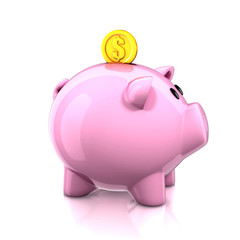 piggy bank with golden coin