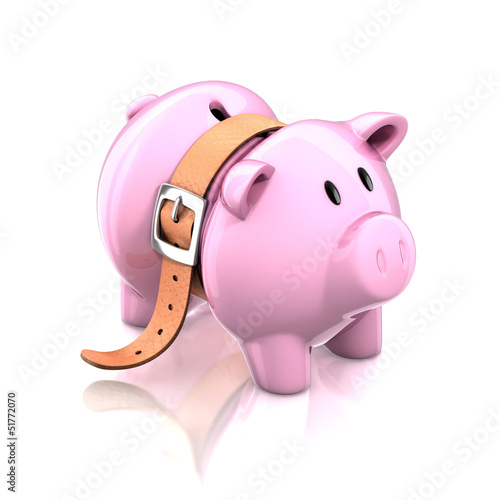 piggy bank with tighten belt