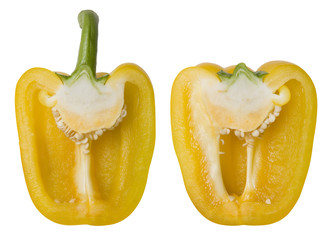 Yellow Bell Pepper Isolated on White with Clipping Path