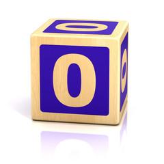 number zero 0 wooden blocks font