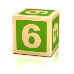 number six 6 wooden blocks font