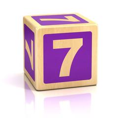 number seven 7 wooden blocks font