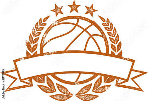 Vintage Basketball Laurel Wreath