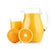 Jug, glass of orange juice and orange fruits