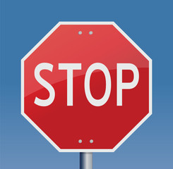 Stop sign blue sky background vector