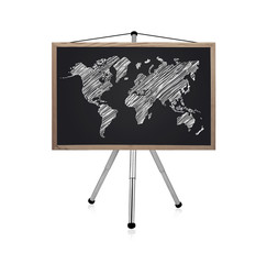 blackboard with map