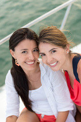 Female friends on a yacht