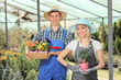 Female and male gardeners holding flower pots in a hothouse