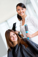 Woman at the hairdresser