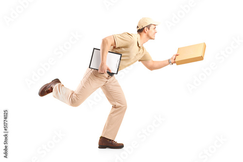 Full length portrait of a delivery boy in a rush delivering a pa