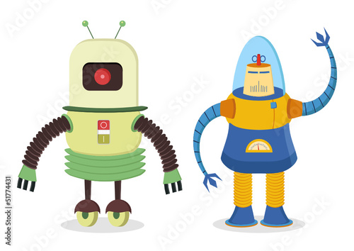 Keuken foto achterwand Robots set of two retro robots