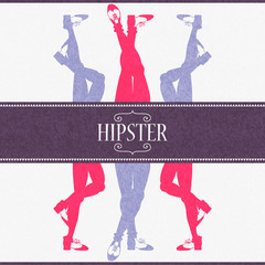 Colorful hipster style card with legs in skinny trousers