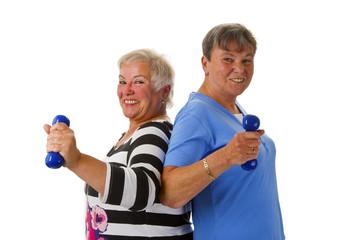 Seniorinnen mit Hanteln