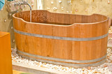 wooden bathtub.