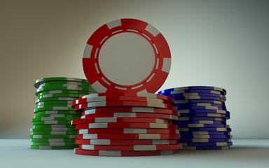 3 stacks of gambling chips. Red Chip facing forward