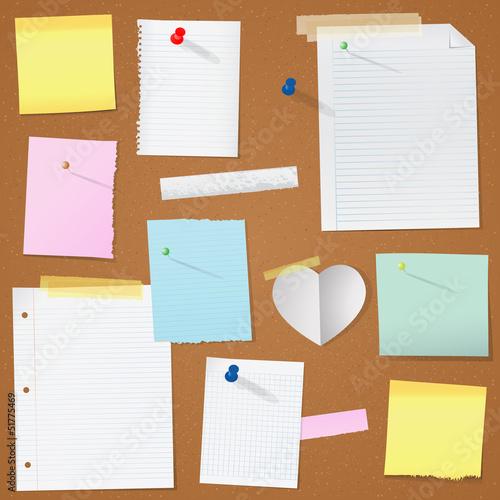 illustration paper notes on cork board eps 10