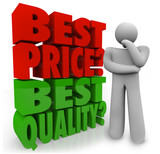 Buyer Person Thinking Best Price Vs Quality Choosing Priority poster