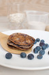 Blueberry pancakes from whole wheat and oats