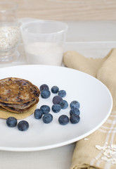 Healthy whole wheat pancakes with oatmeal