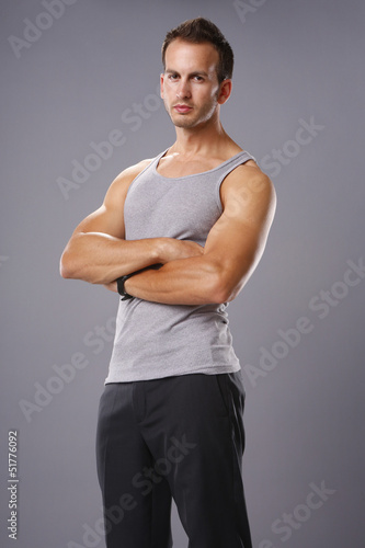 Athletic young man in tank top