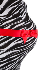 Belly of Pregnant Woman in Zebra Printed Dress