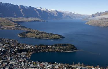 Beautiful scenery of Queenstown bay, Wakatipu lakem NZ