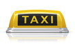 Yellow taxi car sign