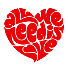 Heart typography. All we need is love.