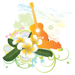 Tropical background with guitar