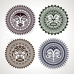 Polynesian tattoo styled masks