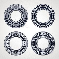 Polynesian tattoo styled frames