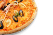 close up of big italian pizza with seafood and norway lobster