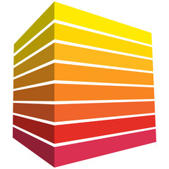Quader mit Streifen in warmem Rot-Gelb-Farbspektrum