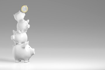 Piggy bank - stack of pigs with Euro