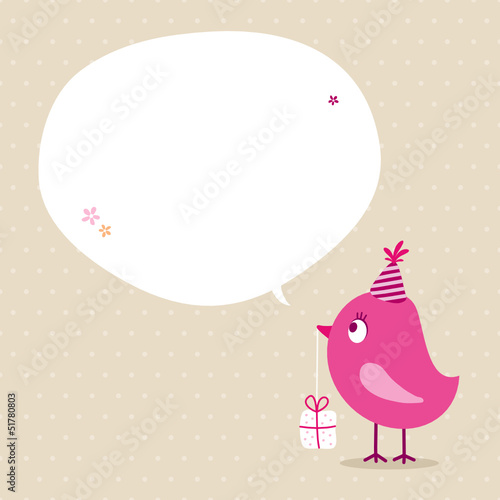 Pink Bird Birthday Gift Speech Bubble Beige Dots