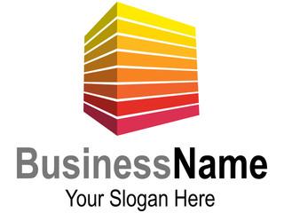 Logodesign mit Quader im warmem Rot-Gelb-Farbspektrum