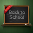 Back to school, written on a blackboard, vector Eps10 image.