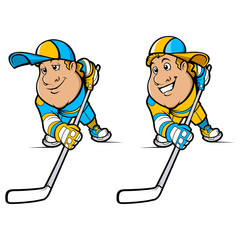 Cartoon Hockey Players Set