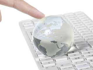 Globe on keyboard