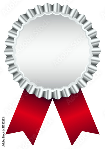Silver Award Badge Red Ribbon