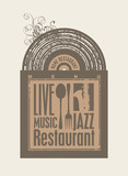 menu for the restaurant with music vinyl records and cutlery