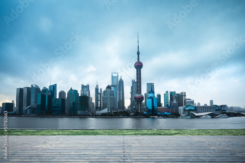 shanghai skyline in cloudy