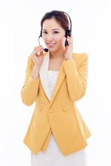 Smiling call center operator business woman