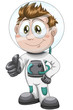 Boy astronaut character cartoon style vector illustration white