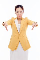 Showing lose sign young Asian woman