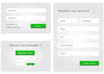 login and register web form