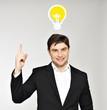 Business man with an idea bulb
