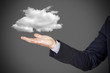 businessman with cloud over hand