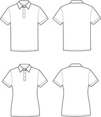 Vector illustration of men's and women's polo t-shirts