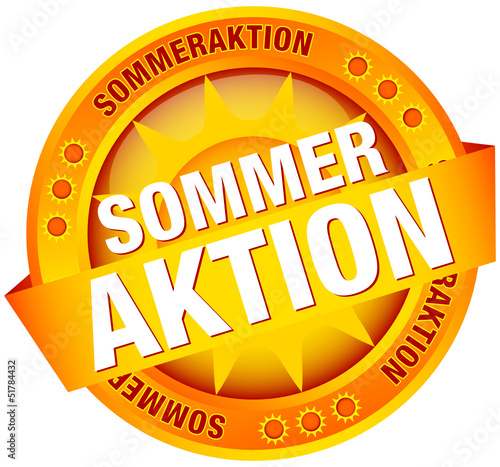 "Button Banner ""Sommeraktion"" Sonne gelb/orange"